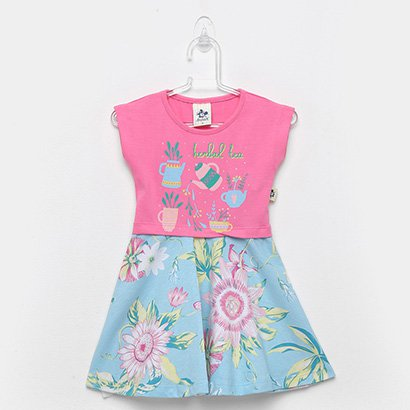 Vestido Infantil Andritex Cotton E Malha Floral Herlcal Tea