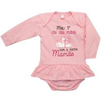 75625b25c Body Manga Longa Bebê Nigambi Meu 1º Dia das Mães Feminino