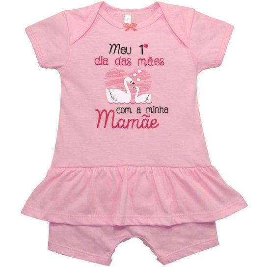 8b7bd77976bc1e Macacão Curto Saia Bebê Nigambi Meu 1º Dia das Mães Feminino - Rosa