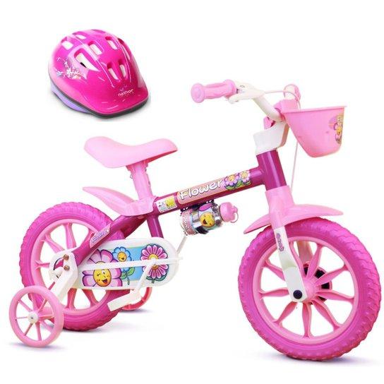 2cbcca4ba Bicicleta Infantil Aro 12 De 3 A 5 Anos Flow + Capacete - Rosa ...