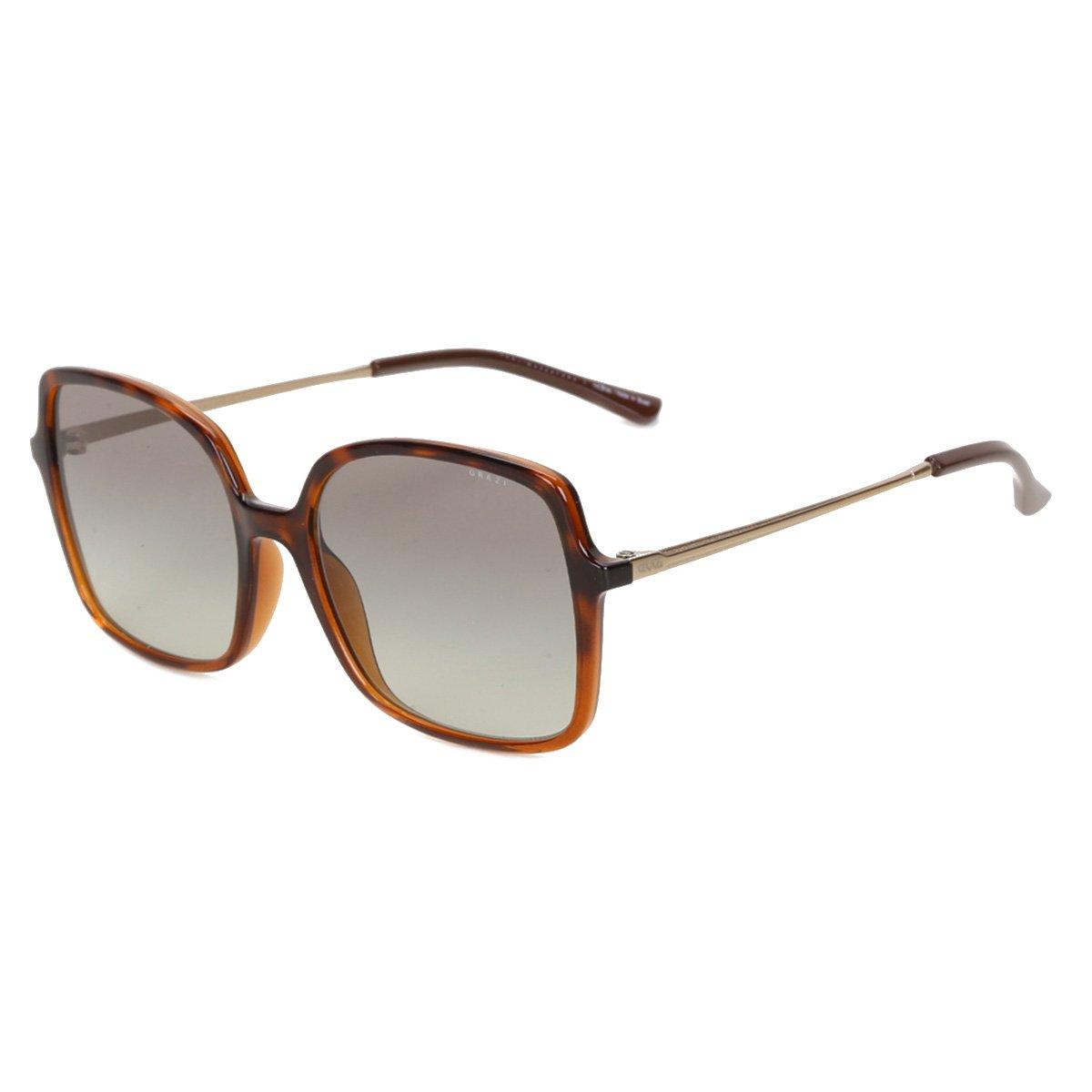 Óculos de Sol Grazi Havana Quadrado Degradê Feminino