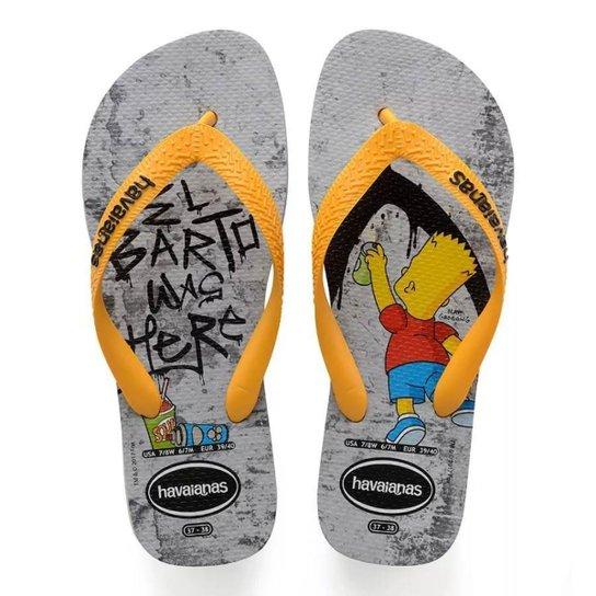 23075adaf Chinelo Havaianas Simpsons - Amarelo+Cinza