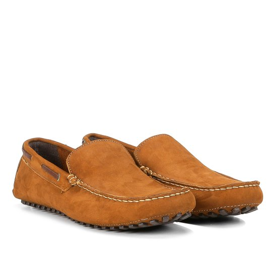 bd2a656b01 Mocassim Couro Wakalbout Jack Nobuck Masculino - Caramelo