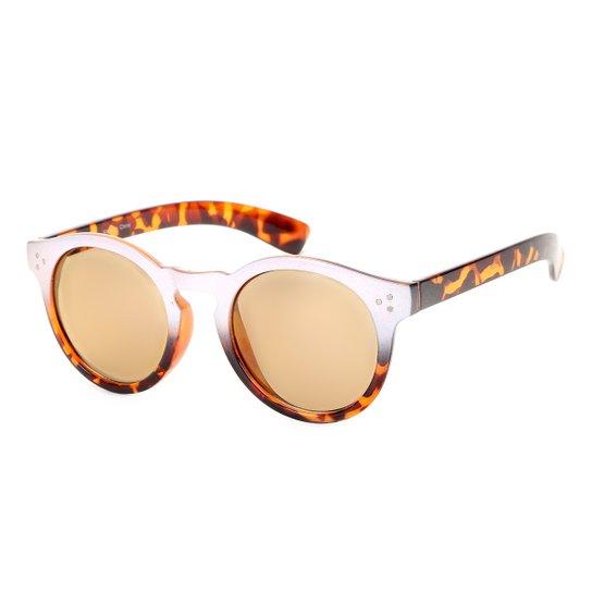 645a6df9d Óculos de Sol Redondo King One OL Tartaruga Feminino - Caramelo