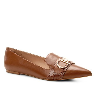 Mocassim Couro Shoestock Loafer Metal Feminino