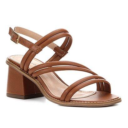 Sandália Shoestock Salto Médio Tiras Duplas Feminina