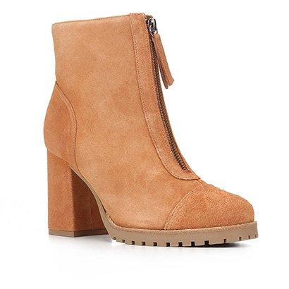 Bota Coturno Shoestock Couro Tratorada Salto Alto Feminina
