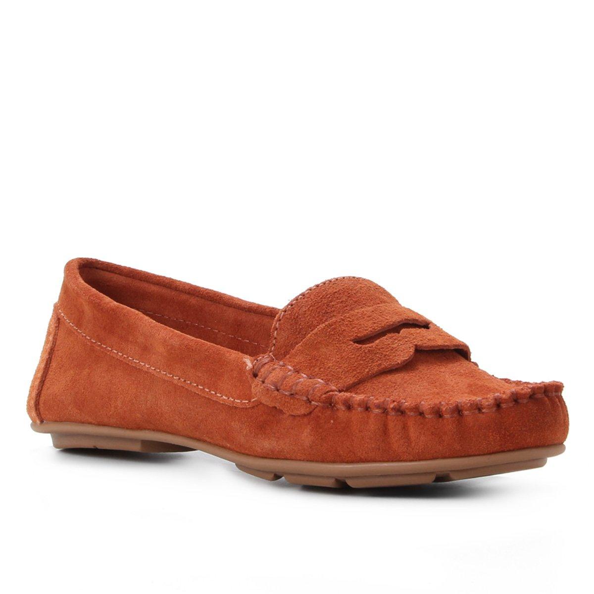 Mocassim Couro Shoestock Camurça Gravata Feminino