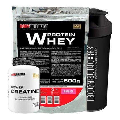 1x Whey Protein 500g + Creatina 100g + Coqueteleira - Bodybuilders