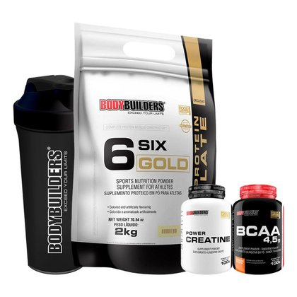 1x Whey Protein Six Gold 2kg+Creatina 100g + BCAA 100g + Coqueteleira-Bodybuilders