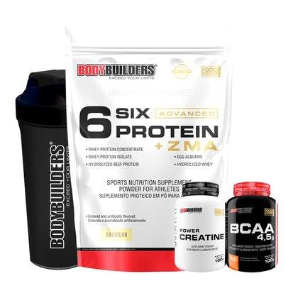 1x Whey Protein Six ZMA 2kg+Creatina 100g + BCAA 100g + Coqueteleira-Bodybuilders