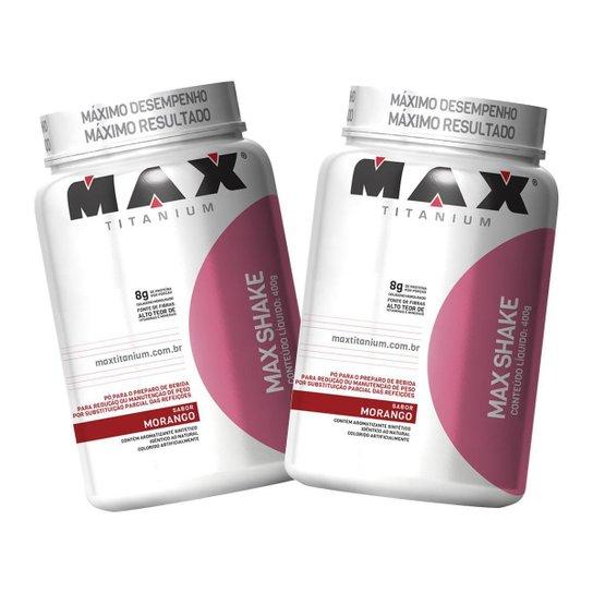 2 Max Shake Protein 400g - Morango - Max Titanium -