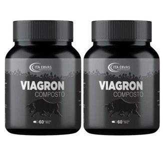 2 Potes Viagron Composto 500mg Itaervas 60 Cápsulas