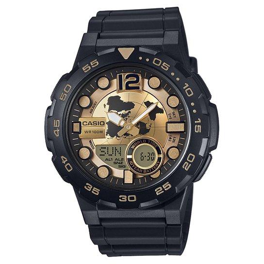 b2a7ce475a5 Relógio Casio Ana-Digi AEQ-100W - Preto e Dourado - Compre Agora ...