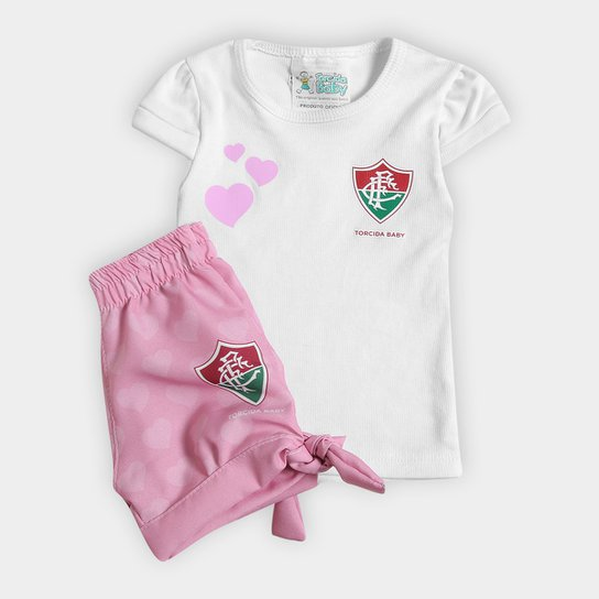8e22af41a Conjunto Fluminense Infantil Torcida Baby Estilo II - Branco+Rosa