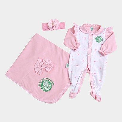 Saída de Maternidade Palmeiras Kit Manta Macacão e Faixa Bebê