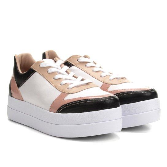 Tênis Bebecê Flatform com Recortes Feminino - Branco e Rosa - Compre ... dff564da4d756