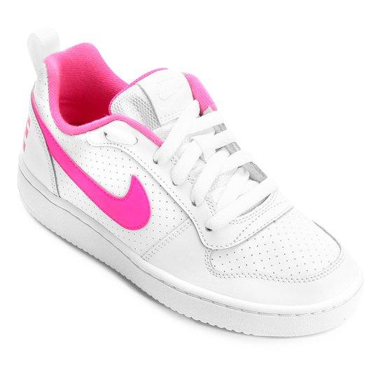 3883f0cb8d9 Tênis Infantil Nike Court Borough Low Feminino - Branco e Rosa ...