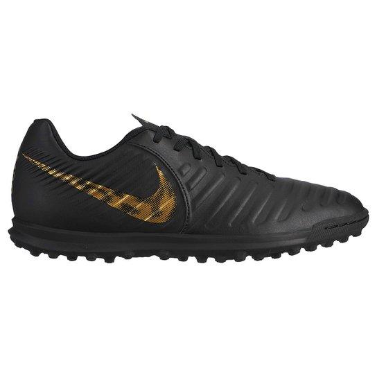 0a85ae50f5b Chuteira Society Nike Tiempo Legend 7 Club TF - Preto e Dourado ...