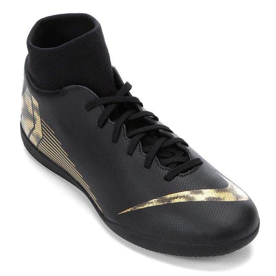 1e10827e067 Chuteira Futsal Nike Mercurial Superfly 6 Club - Preto e Dourado ...