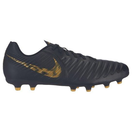 Chuteira Campo Nike Tiempo Legend 7 Club FG - Preto e Dourado ... 0df262974789c
