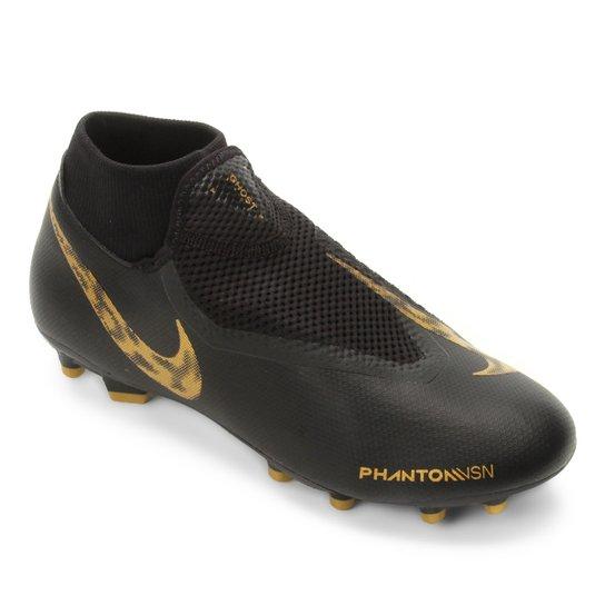 ac7a300025a Chuteira Campo Nike Phantom Vision Academy DF FG - Preto e Dourado ...