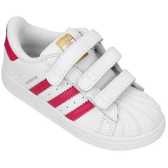 ade16b46ea9 Tênis Adidas Superstar Found Cf Infantil - Branco+Rosa ...