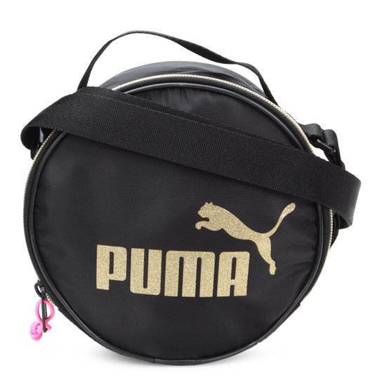 Bolsa Puma Mina Bag WMN Core Round Case Seasonal Feminina - Preto+Dourado dcd2e8285e2