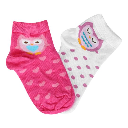 bc9d6f2e8 Kit Meia Infantil Lupo Cano Curto Corujas 2 Pares Feminino - Branco+Rosa