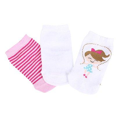 Kit Meia Infantil Lupo Baby Estampa Boneca 3 Pares