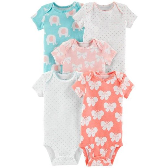 c9e279c51 Kit Body Bebê Carter S Menina Manga Curta 5 Peças Borboleta Feminino -  Branco+Rosa