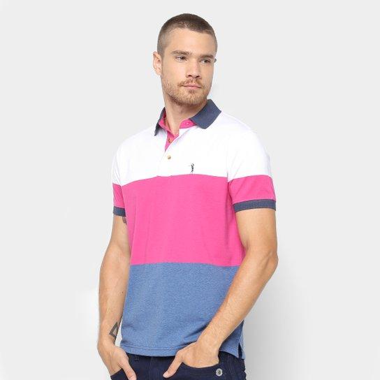 Camisa Polo Aleatory Estampa Listrada Masculina - Branco e Rosa ... 970fab48e6858