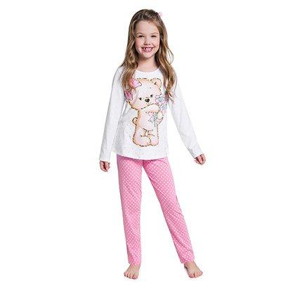 Pijama Infantil Kyly Longo Meia Malha Urso Brilha no Escuro Feminino