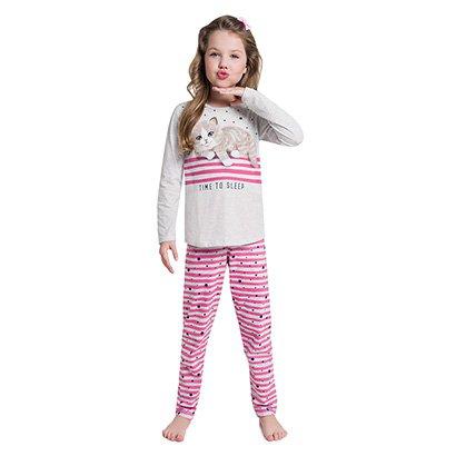 Pijama Infantil Kyly Gatinho Manga Longa Feminino