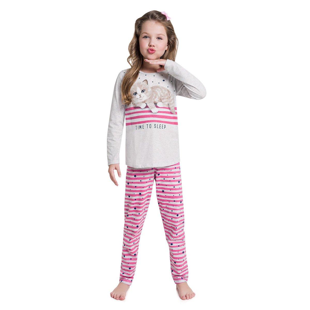 eab3a88b55 Pijama Infantil Kyly Gatinho Manga Longa Feminino