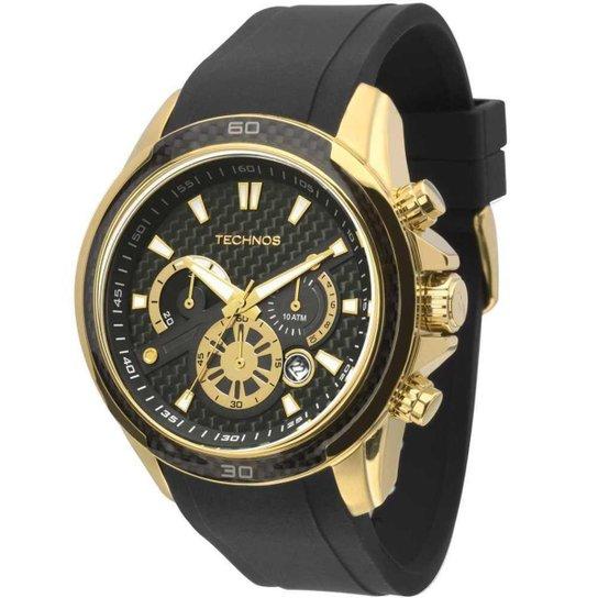 e932b7757b3 Relógio Technos Performance TS Carbon JS26AB 8P 49mm Silicone - Preto+ Dourado