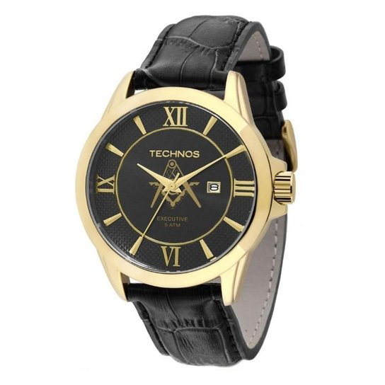 1a902bf122b Relógio Technos Classic Executive Maçonaria 2115KOR M2P - Preto+Dourado