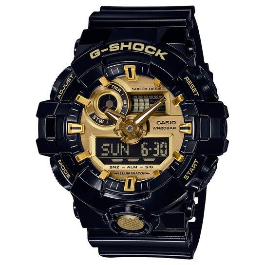e73a7f8cb53 Relógio Digital G-Shock GA-710GB-1ADR - Preto e Dourado - Compre ...