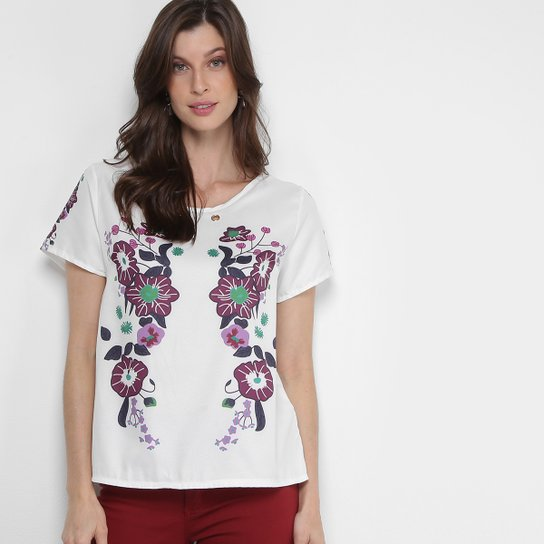 Blusa JIN Estampada Colorida Feminina - Branco e Rosa - Compre Agora ... 48ddb535f4