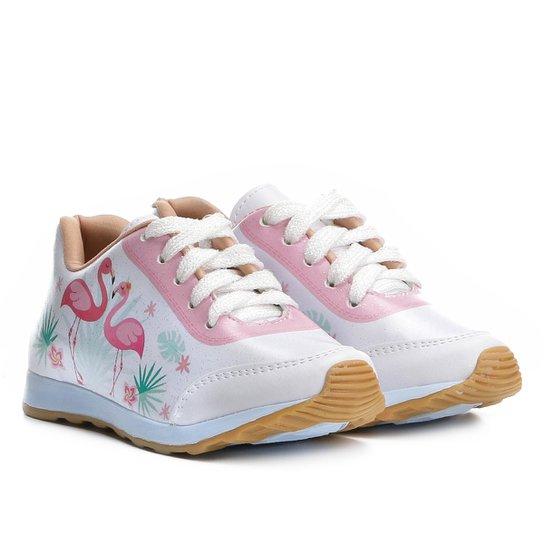 3240c977d4c Tênis Infantil Menina Fashion Jogging Flamingo Feminino - Branco+Rosa