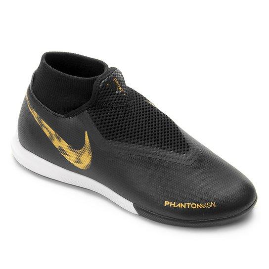 63a9d5d476 Chuteira Futsal Nike Phantom Vision Academy DF IC - Preto e Dourado ...