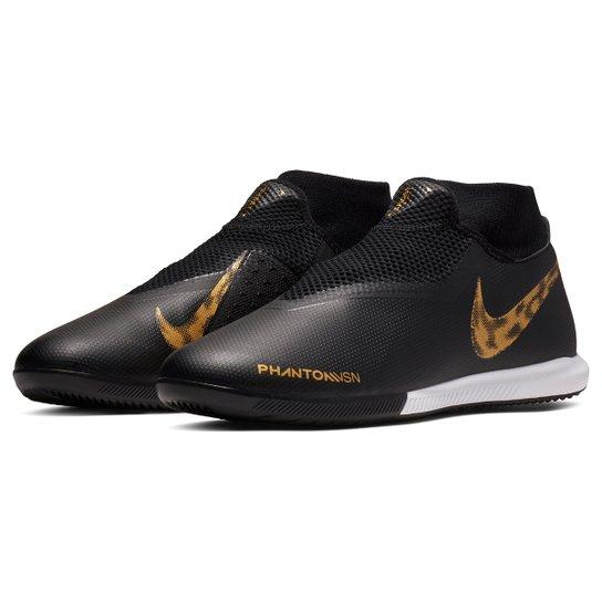 e9d235970c ... Chuteira Futsal Nike Phantom Vision Academy DF IC - Preto+Dourado ...
