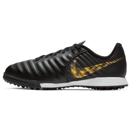 7874b7220ae Chuteira Society Infantil Nike Tiempo Legend 7 Academy TF - Preto+Dourado