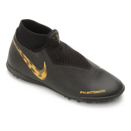 Chuteira Society Nike Phantom Vision Academy DF TF - Preto e Dourado ... 14932fb1a0917