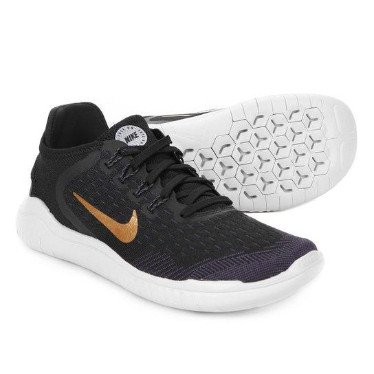 d3e6fdce4c0 Tênis Nike Free Rn 2018 Feminino - Preto e Dourado - Compre Agora ...