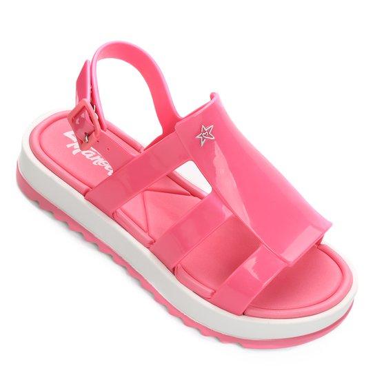 2137d42a64c6b Sandália Infantil Grendene Larissa Manoela Flat Power Fashion Feminina -  Branco+Rosa
