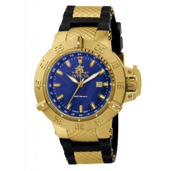 1cbb6ccd0c5 Relógio Invicta 1150 Subaqua Noma III 50mm Banhado a ouro 18k -  Preto+Dourado