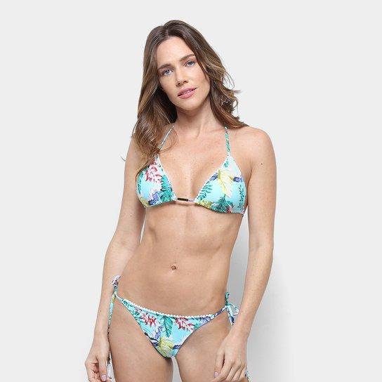 0b9fbc03e083 Conjunto Biquíni Labamba Cortininha Floral - Azul Piscina | Netshoes