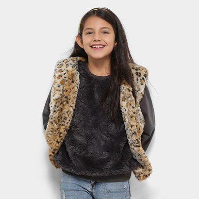 Colete Infantil Zeep! Pelinho Leopardo Feminino