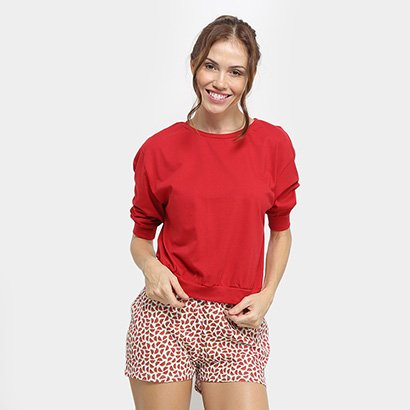 Conjunto Pijama Flora Zuu Curto Melancia Feminino